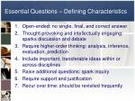 essential questions defining characteristics