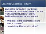 essential questions inquiry