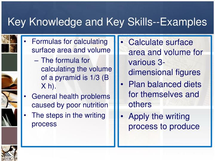 Key Knowledge and Key Skills--Examples