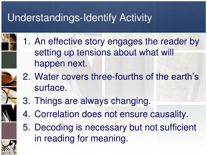 Understandings-Identify Activity
