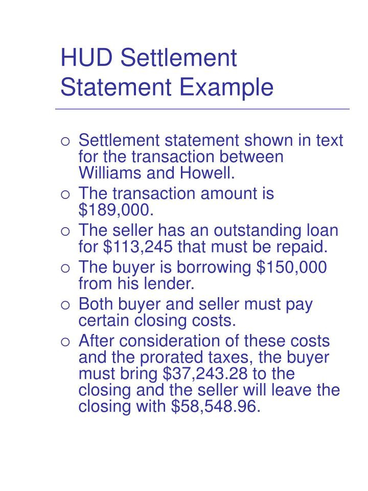 HUD Settlement Statement Example