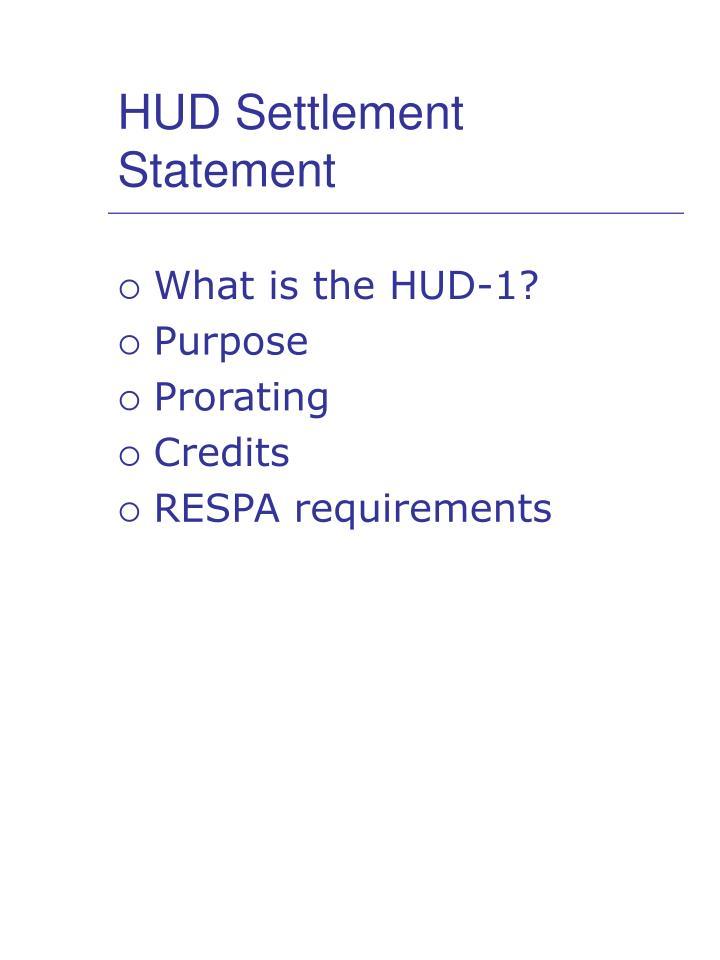 HUD Settlement Statement
