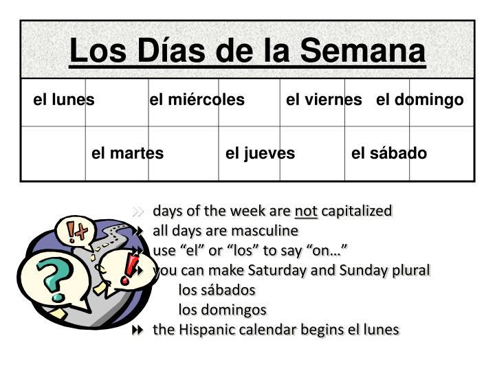 Los Días de la Semana