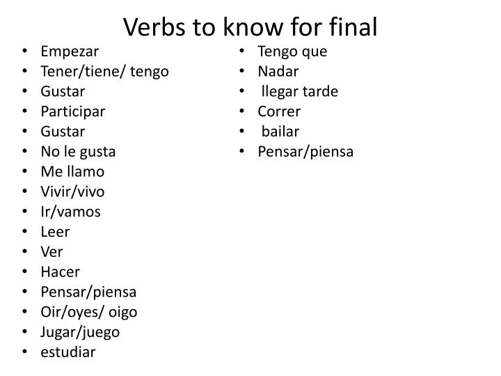 Verbs to know for final