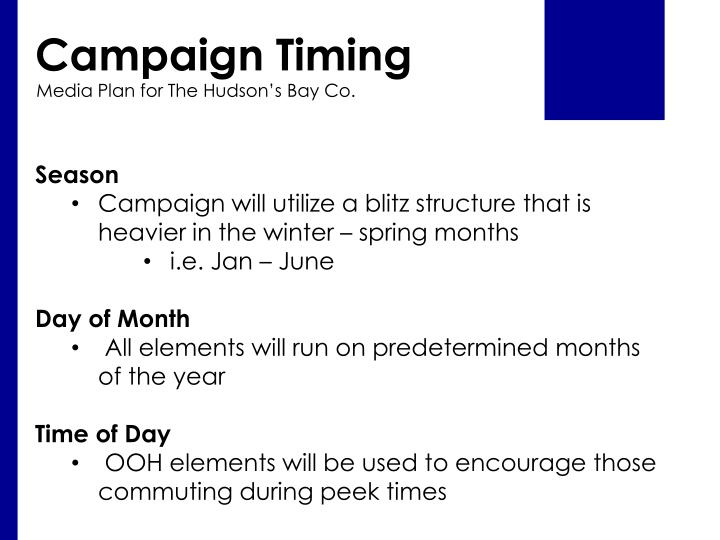 Campaign Timing