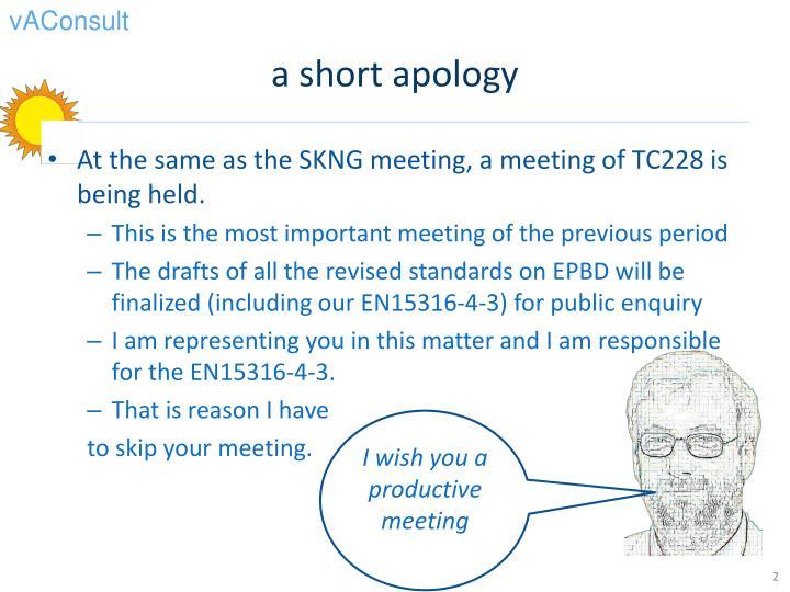 a short apology