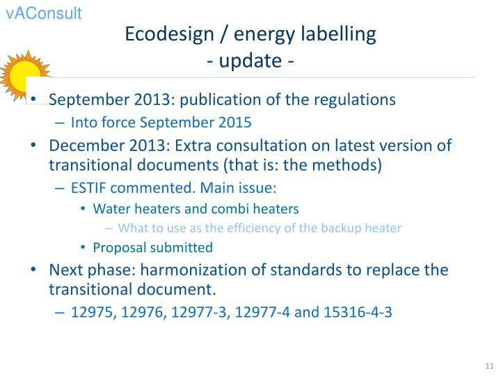 Ecodesign / energy labelling