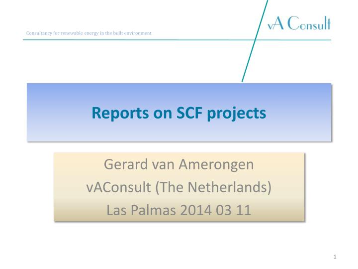 reports on scf projects