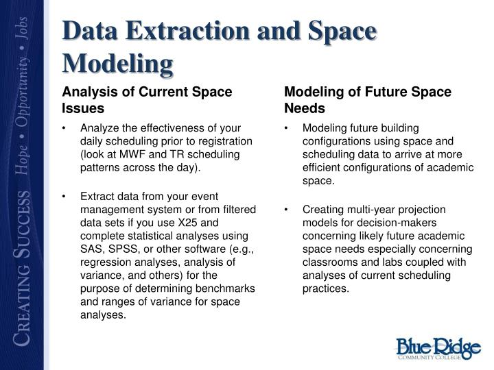 Data Extraction and Space Modeling
