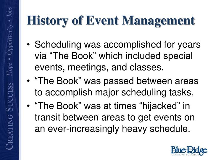 History of Event Management