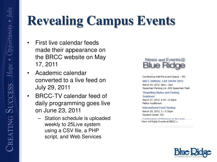 Revealing Campus Events