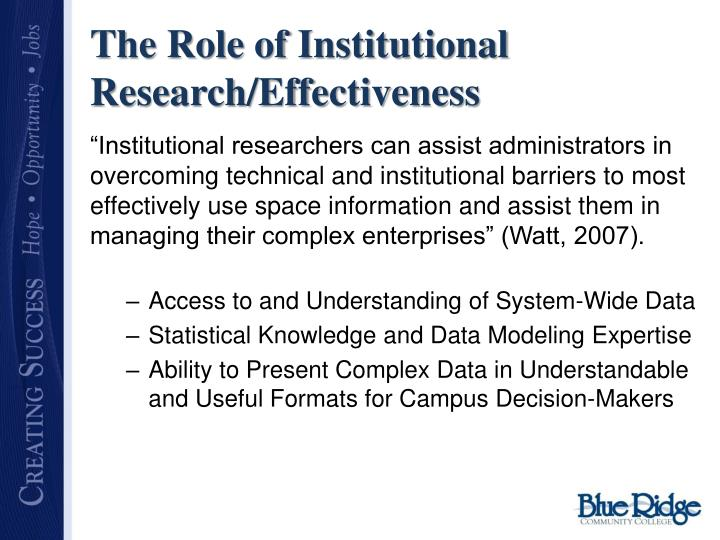 The Role of Institutional Research/Effectiveness
