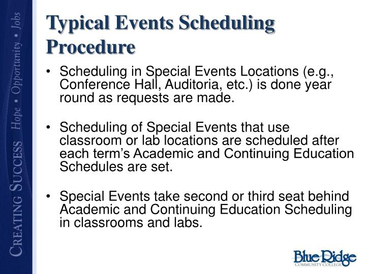 Typical Events Scheduling Procedure