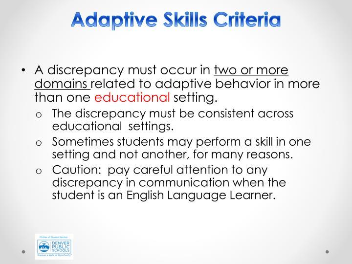 Adaptive Skills Criteria