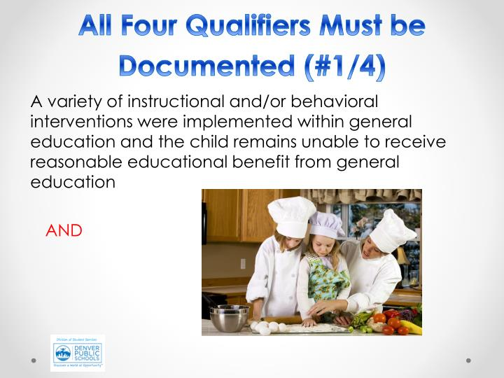 All Four Qualifiers Must be Documented (#1/4)