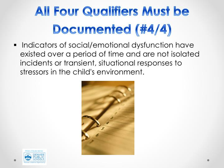 All Four Qualifiers Must be Documented (#4/4)