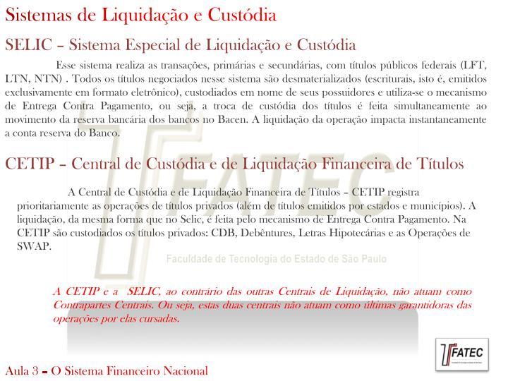 Sistemas de Liquidação e Custódia