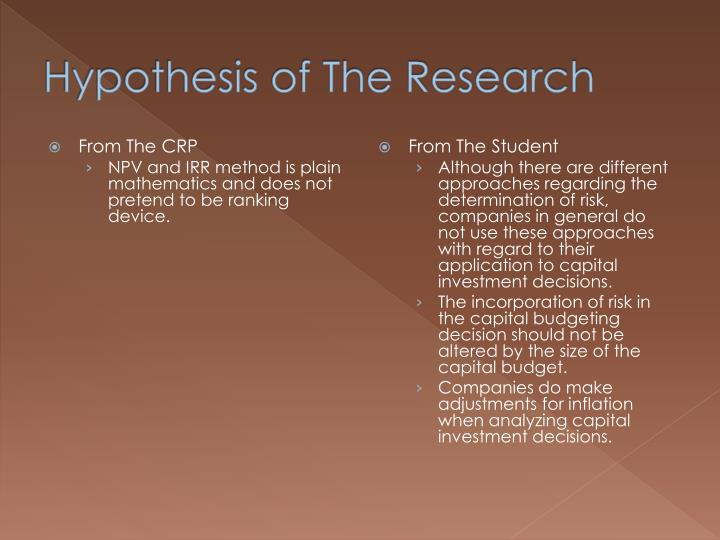 Hypothesis of The Research
