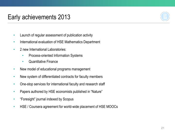 Early achievements 2013