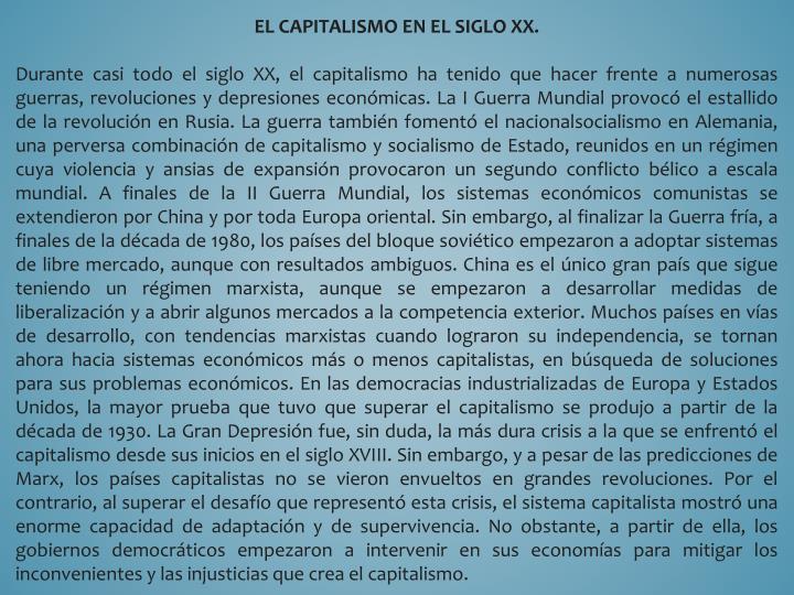 EL CAPITALISMO EN EL SIGLO XX.