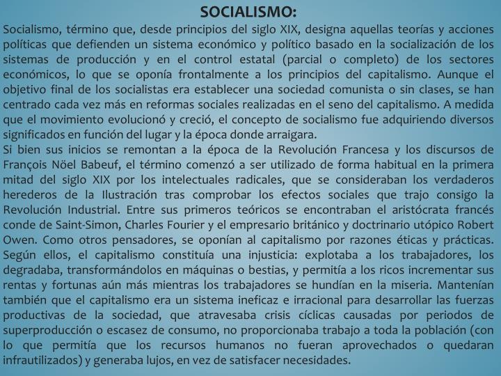 SOCIALISMO: