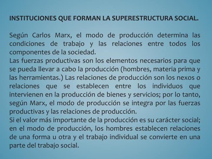 INSTITUCIONES QUE FORMAN LA SUPERESTRUCTURA SOCIAL.