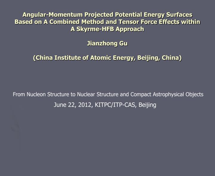 Angular-Momentum Projected Potential Energy Surfaces Based on A Combined Method and Tensor Force Eff...