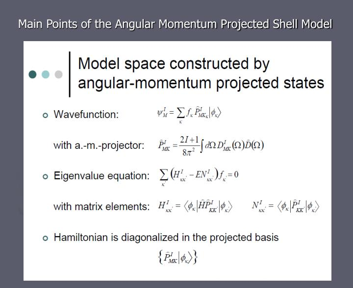 Main Points of the Angular Momentum Projected Shell Model