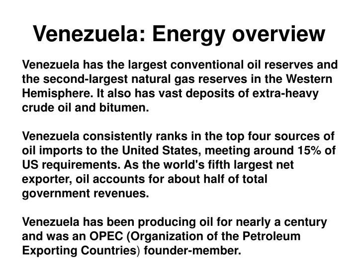 Venezuela energy overview