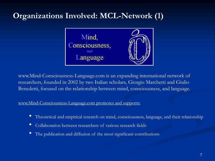 Organizations Involved: MCL-Network (1)