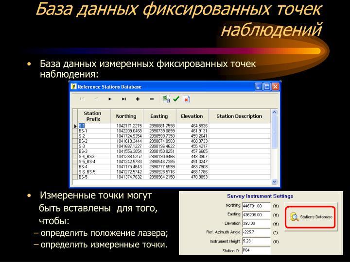 База данных фиксированных точек наблюдений