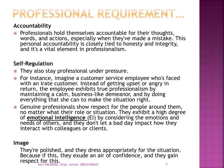 PROFESSIONAL REQUIREMENT…