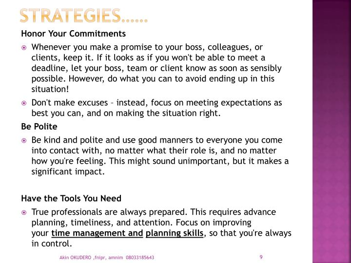 Strategies……