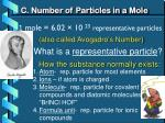 c number of particles in a mole