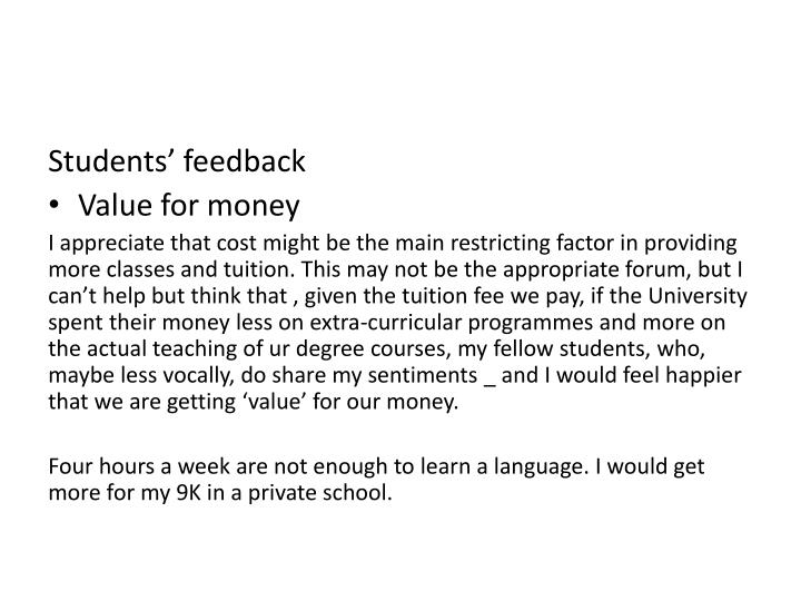 Students' feedback