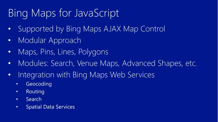 Bing Maps for JavaScript