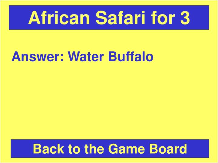 African Safari for 3