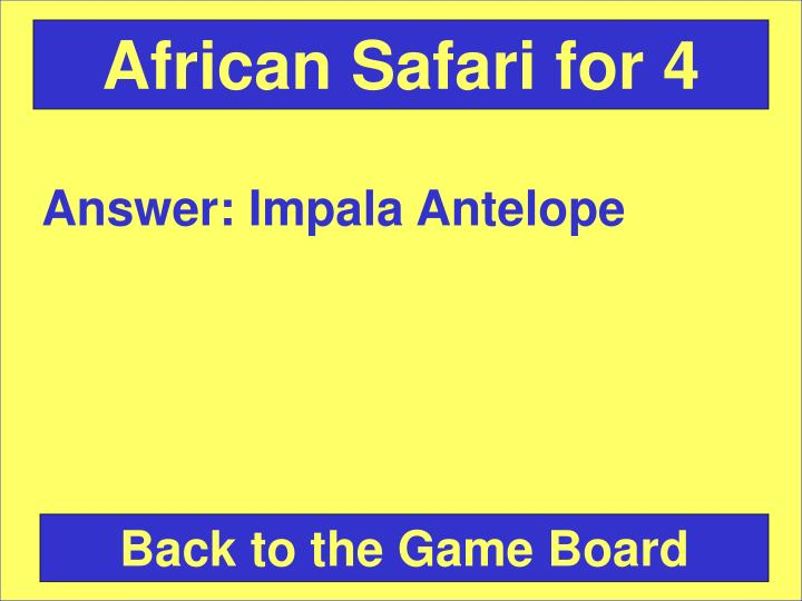 African Safari for 4