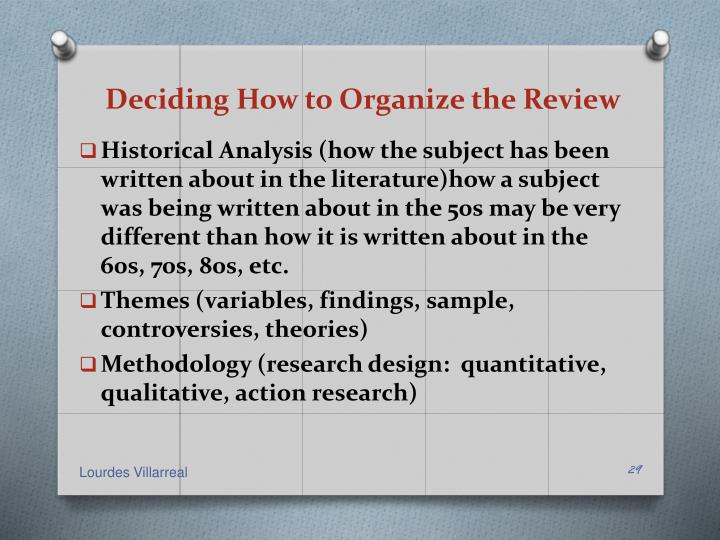 Deciding How to Organize the Review