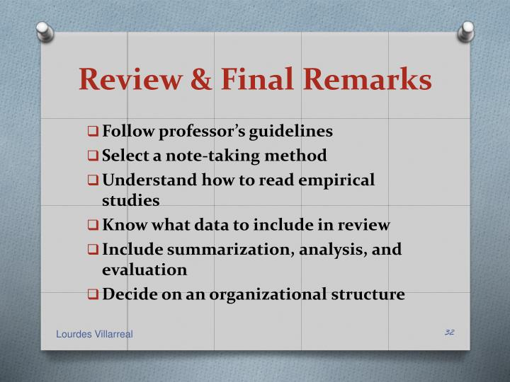Review & Final Remarks