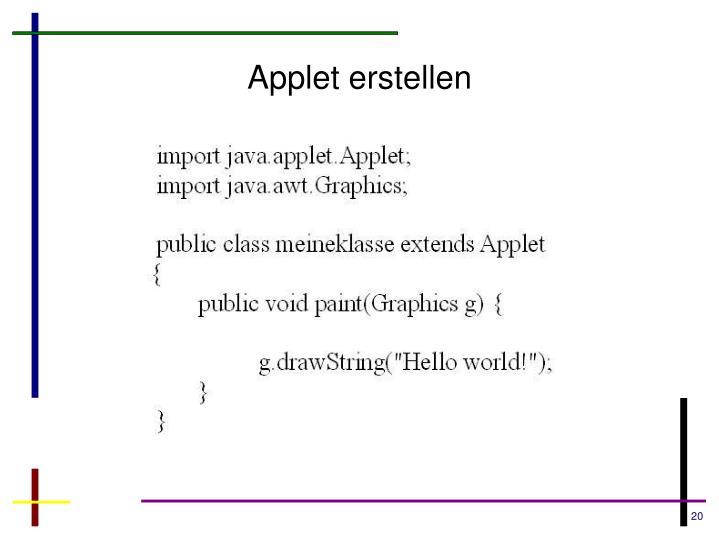Applet erstellen