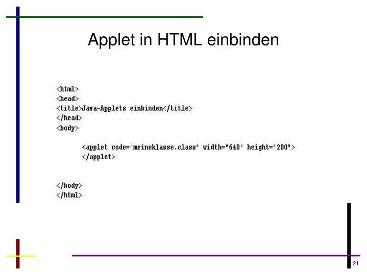 Applet in HTML einbinden