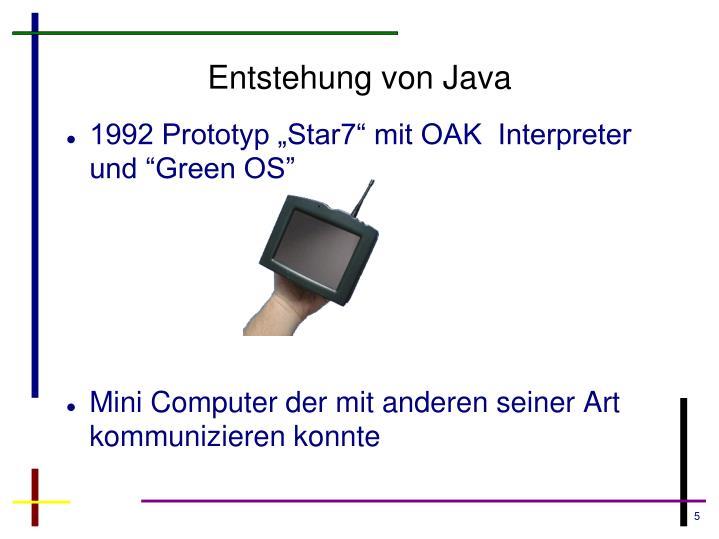 Entstehung von Java