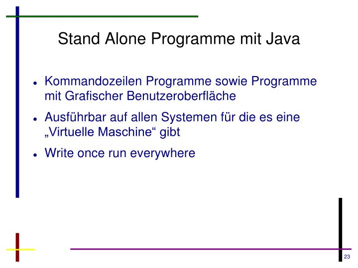 Stand Alone Programme mit Java