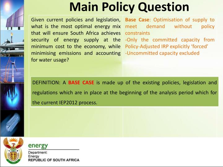Main Policy Question