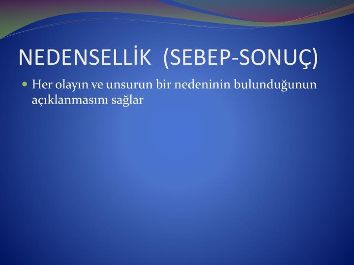 NEDENSELLİK  (SEBEP-SONUÇ)