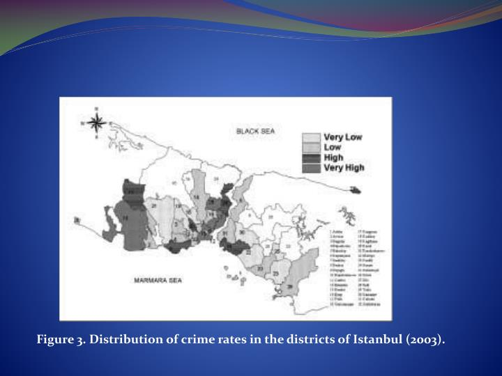 Figure 3. Distribution of crime rates in the districts of Istanbul (2003).
