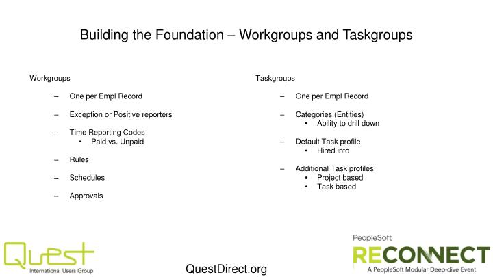 Building the Foundation – Workgroups and Taskgroups