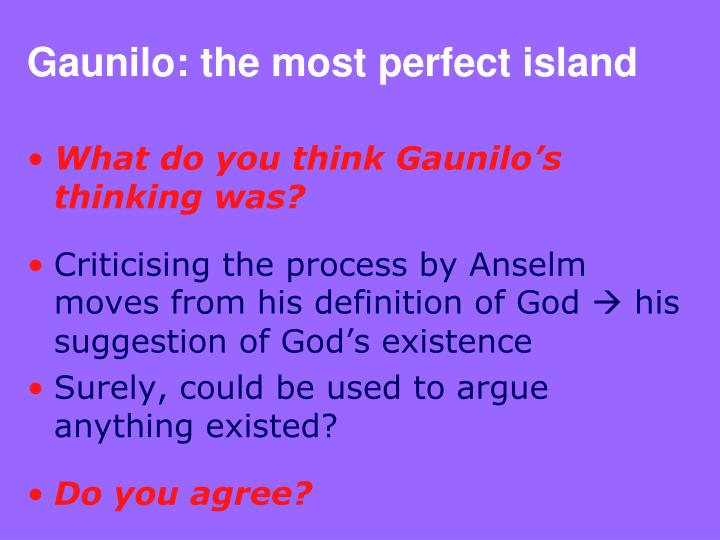 anselms ontological argument and gaunilos response