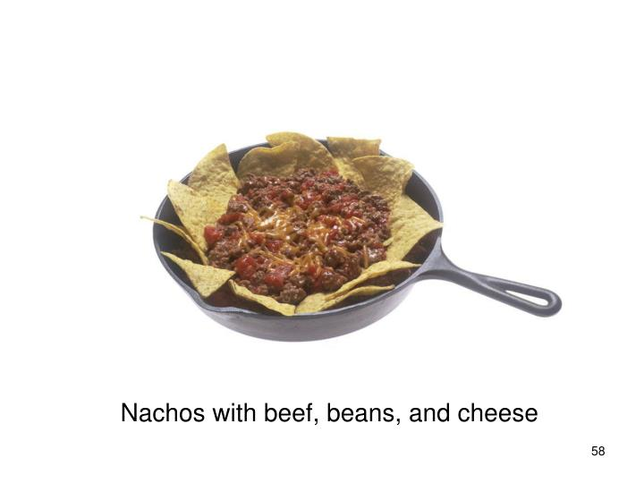 Nachos with beef, beans, and cheese